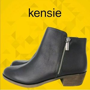 KENSIE Black Leather Ghita Short Ankle Boots